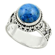 5.80cts natural blue dumorite (dumortierite) 925 silver ring size 8 r44258