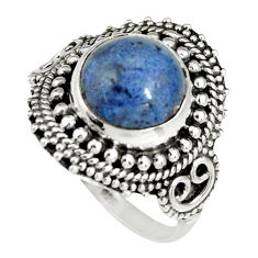 5.36cts natural blue dumortierite 925 silver solitaire ring size 8.5 r19502