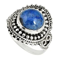 5.38cts natural blue dumortierite 925 silver solitaire ring size 7.5 r19503
