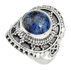 5.38cts natural blue dumortierite 925 silver solitaire ring size 6.5 r19506