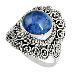5.57cts natural blue dumortierite 925 silver solitaire ring size 7.5 r19508