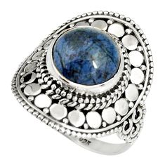 11.66cts natural blue dumortierite 925 silver solitaire ring size 8.5 r19510
