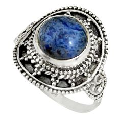 5.16cts natural blue dumortierite 925 silver solitaire ring size 9.5 r19517