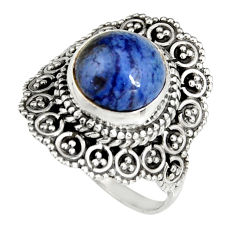 5.36cts natural blue dumortierite 925 silver solitaire ring size 8.5 r19518