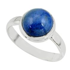 5.11cts natural blue dumortierite 925 silver solitaire ring size 8.5 r39808