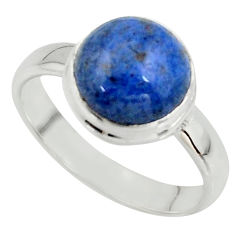 5.23cts natural blue dumortierite 925 silver solitaire ring size 7.5 r39812