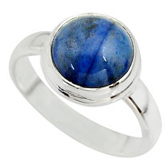 5.24cts natural blue dumortierite 925 silver solitaire ring size 7.5 r39813