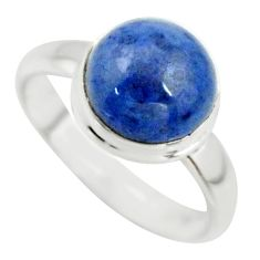 5.23cts natural blue dumortierite 925 silver solitaire ring size 7.5 r39817