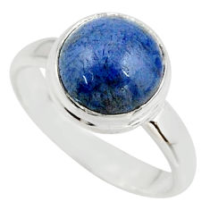 5.23cts natural blue dumortierite 925 silver solitaire ring size 7.5 r39820