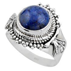 5.27cts natural blue dumortierite 925 silver solitaire ring size 7.5 r53408