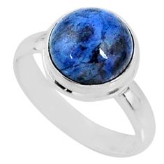 5.06cts natural blue dumortierite 925 silver solitaire ring size 6.5 r64770