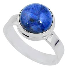 5.24cts natural blue dumortierite 925 silver solitaire ring size 6.5 r64775