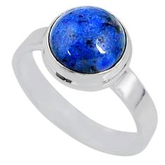 5.23cts natural blue dumortierite 925 silver solitaire ring size 8.5 r64778