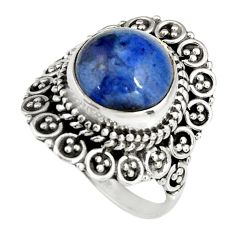 5.16cts natural blue dumortierite 925 silver solitaire ring size 7 r19501