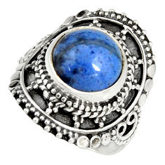 5.53cts natural blue dumortierite 925 silver solitaire ring size 7 r19514