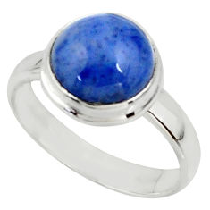 5.06cts natural blue dumortierite 925 silver solitaire ring size 7 r39806