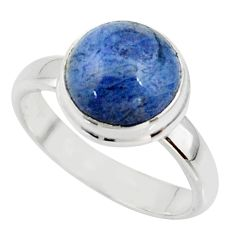 5.23cts natural blue dumortierite 925 silver solitaire ring size 7 r39814