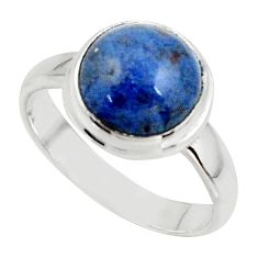 5.06cts natural blue dumortierite 925 silver solitaire ring size 7 r39816