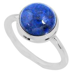 4.71cts natural blue dumortierite 925 silver solitaire ring size 7 r64762