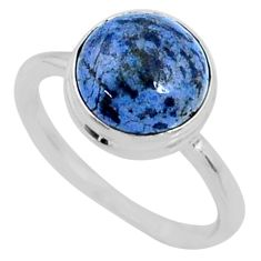 5.06cts natural blue dumortierite 925 silver solitaire ring size 7 r64763
