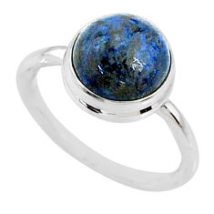 4.97cts natural blue dumortierite 925 silver solitaire ring size 7 r73469