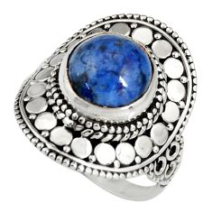 5.75cts natural blue dumortierite 925 silver solitaire ring size 8 r19509