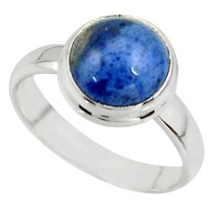 5.23cts natural blue dumortierite 925 silver solitaire ring size 8 r39810