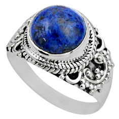 5.38cts natural blue dumortierite 925 silver solitaire ring size 8 r53412