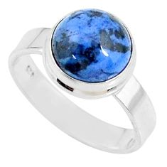 4.92cts natural blue dumortierite 925 silver solitaire ring size 8 r73463