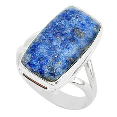 9.01cts natural blue dumortierite 925 silver solitaire ring size 8 r95650