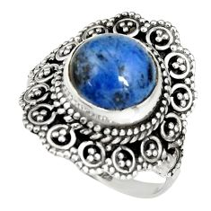 5.52cts natural blue dumortierite 925 silver solitaire ring size 9 r19505