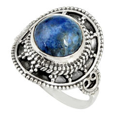 5.16cts natural blue dumortierite 925 silver solitaire ring size 9 r19512