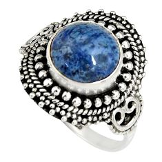 5.63cts natural blue dumortierite 925 silver solitaire ring size 9 r19516