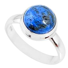 5.10cts natural blue dumortierite 925 silver solitaire ring size 9 r73462