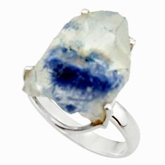 3.44cts natural blue dumortierite rough 925 silver solitaire ring size 8 d46578