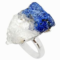 19.23cts natural blue dumortierite rough 925 silver solitaire ring size 8 d46579