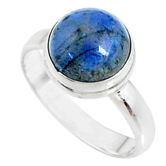 5.24cts natural blue dumortierite round 925 silver solitaire ring size 8 r73461