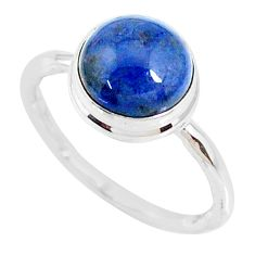 4.67cts natural blue dumortierite round silver solitaire ring size 8.5 r73464