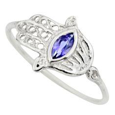 0.40cts natural blue iolite 925 silver hand of god hamsa ring size 7.5 r25999