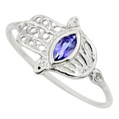 0.52cts natural blue iolite 925 silver hand of god hamsa ring size 7 r25991