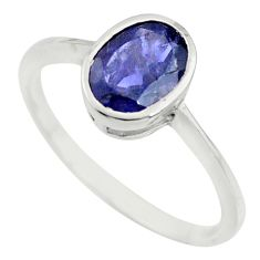 2.08cts natural blue iolite 925 silver solitaire ring jewelry size 7.5 r25558