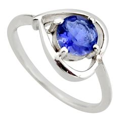 1.13cts natural blue iolite 925 sterling silver ring jewelry size 5.5 d46379