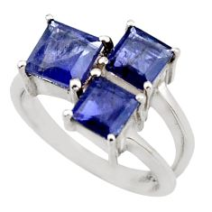2.41cts natural blue iolite 925 sterling silver ring jewelry size 5.5 d46398