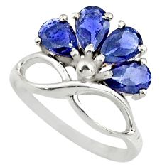 3.76cts natural blue iolite 925 sterling silver ring jewelry size 6.5 r25400