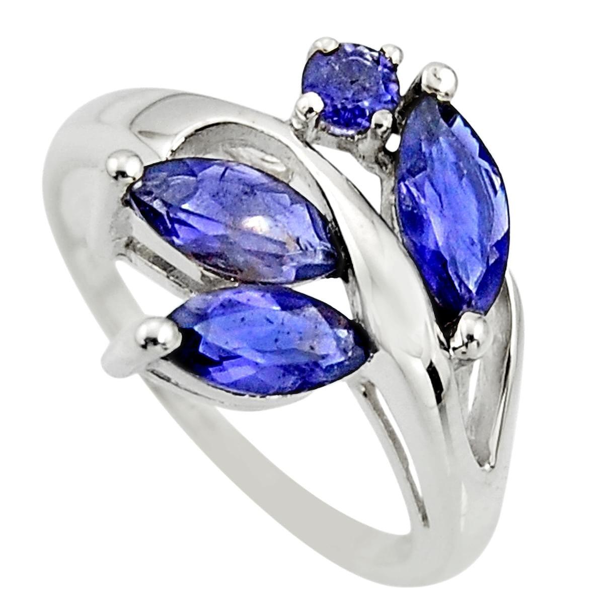 Blue Iolite Nugget Pendant Sterling Silver earthegy #2096