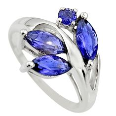 6.03cts natural blue iolite 925 sterling silver ring jewelry size 7.5 r25496