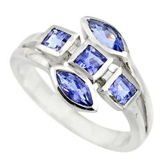 3.71cts natural blue iolite 925 sterling silver ring jewelry size 7.5 r25519