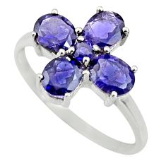 3.25cts natural blue iolite 925 sterling silver ring jewelry size 5.5 r25553