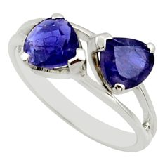 2.69cts natural blue iolite 925 sterling silver ring jewelry size 5.5 r25640