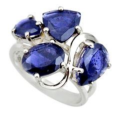 8.77cts natural blue iolite 925 sterling silver ring jewelry size 6.5 r25739